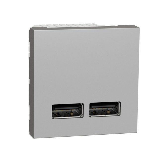 Розетка Unica New USB подвійна 2,1 А алюміній