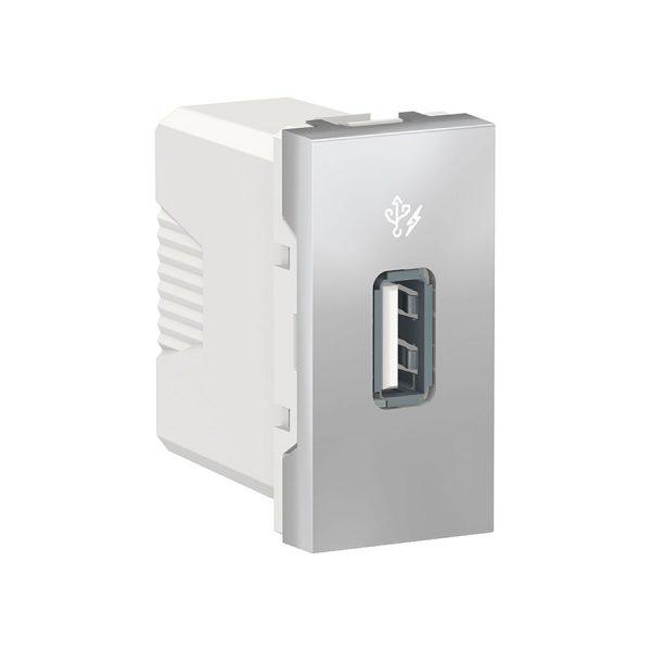 Розетка Unica New USB 1 модуль алюміній