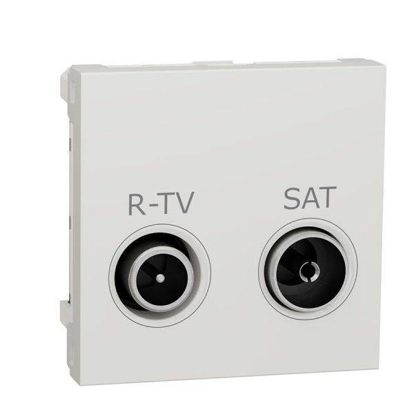 Розетка Unica New R-TV/SAT прохідна біла