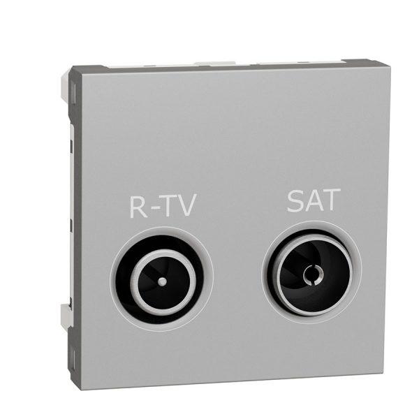 Розетка Unica New R-TV/SAT прохідна алюміній