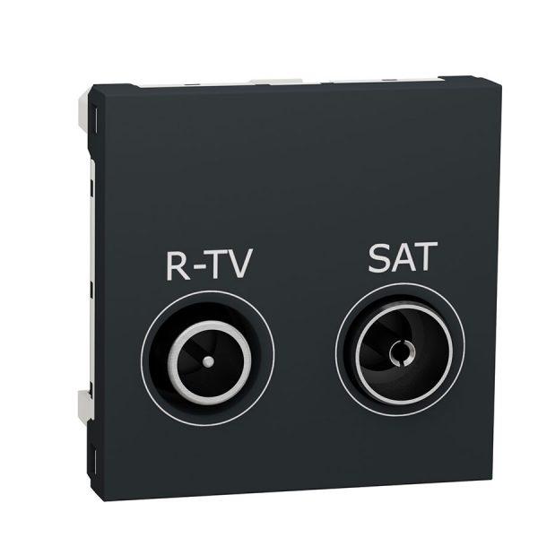 Розетка Unica New R-TV/SAT прохідна антрацит