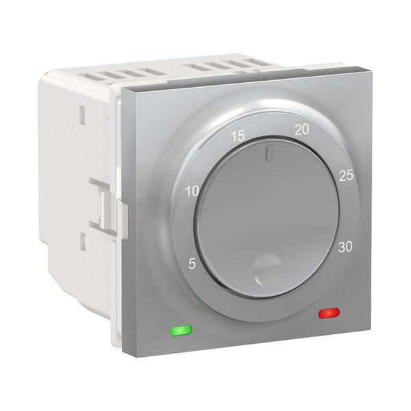 Термостат кімнатний, вбудований датчик, 8 А, Unica New алюміній