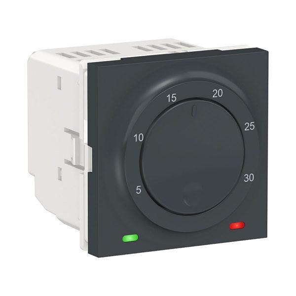 Термостат кімнатний, вбудований датчик, 8 А, Unica New антрацит