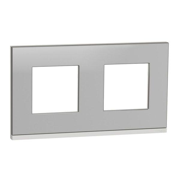 Рамка Unica Pure 2-на алюміній матовий/біла