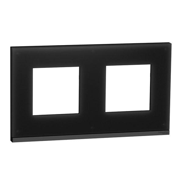 Рамка Unica Pure 2-на чорне скло/антрацит