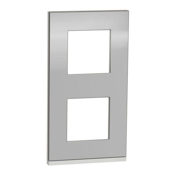 Рамка вертикальна Unica Pure 2-на алюміній матовий/біла