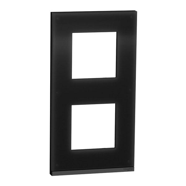 Рамка вертикальна Unica Pure 2-на чорне скло/антрацит