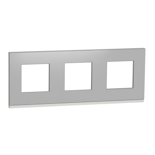 Рамка Unica Pure 3-на алюміній матовий/біла
