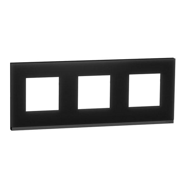 Рамка Unica Pure 3-на чорне скло/антрацит