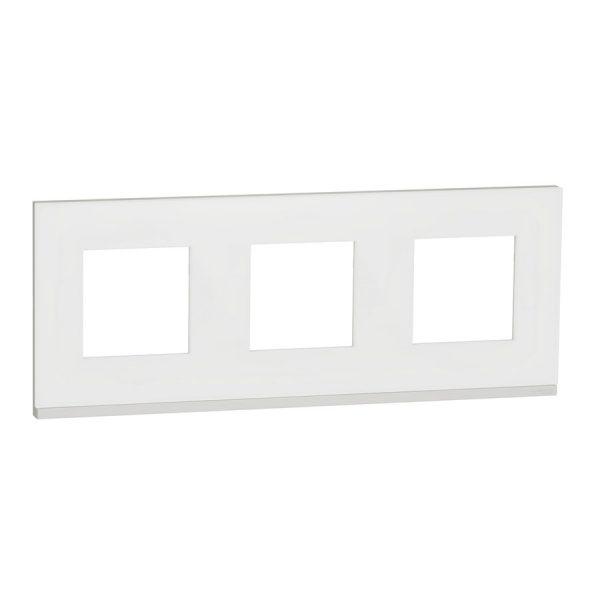 Рамка 3-на постова мат.скло/біл. Unica NEW