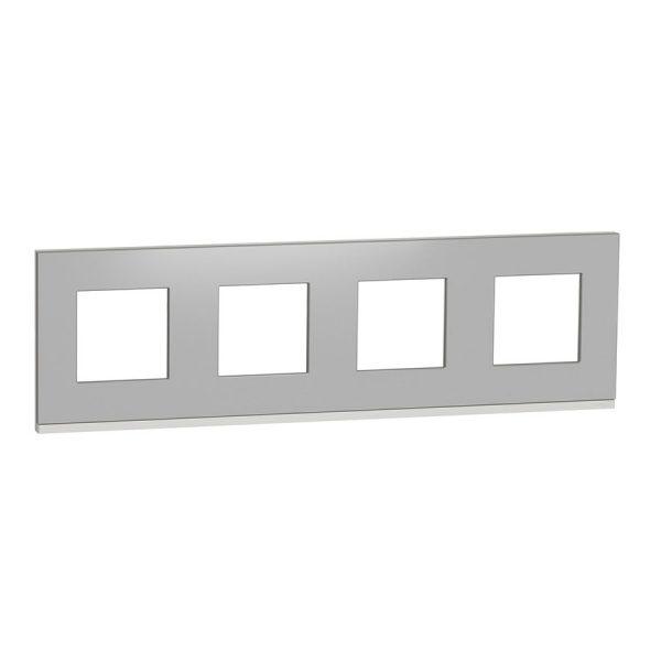 Рамка Unica Pure 4-на алюміній матовий/біла