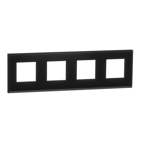 Рамка Unica Pure 4-на чорне скло/антрацит