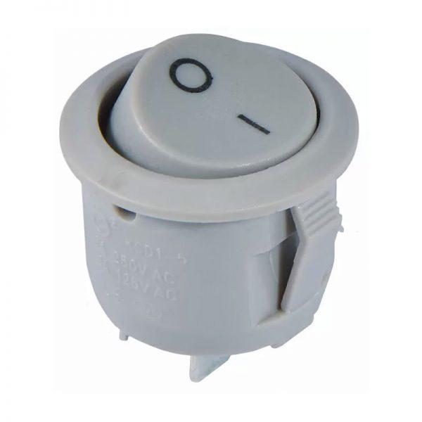 Перемикач 1 кл. YL213-01 круглий сірий (KCD1-5-101)