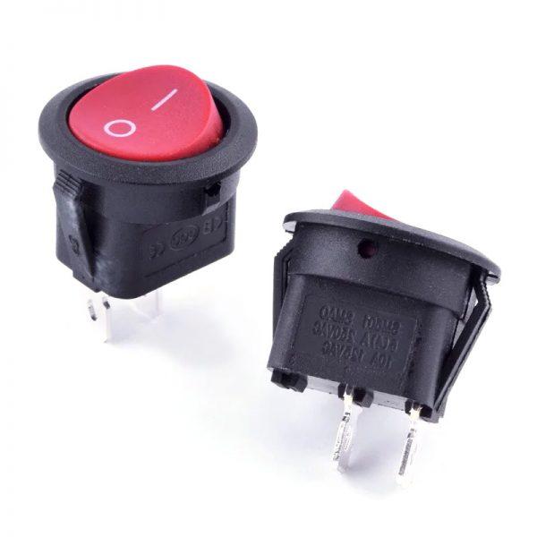 Перемикач 1 кл. круг. KCD1-101 B/B (чорний, червона кнопка)