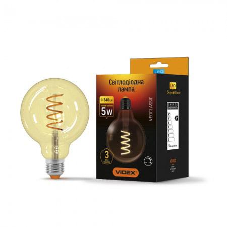 LED лампа Filament G95FASD 5W E27 2200K 220V димерна
