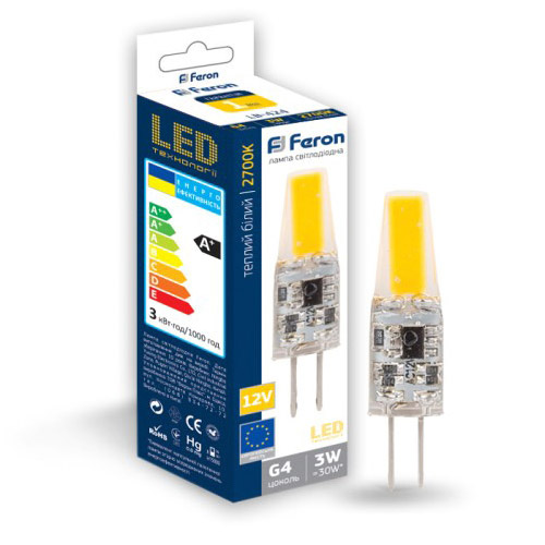 Лампа LED G4 12V AC/DC 3W 2700K 240lm LB-424