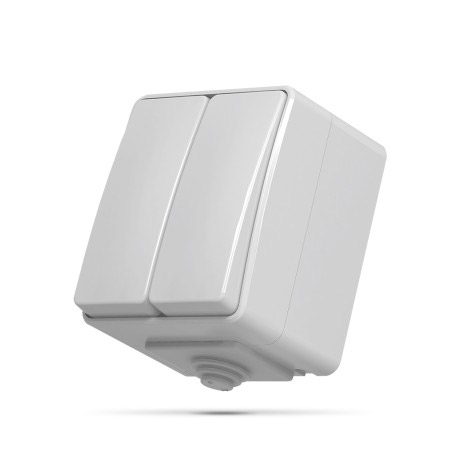 Вимикач BINERA 2кл сірий IP65  VF-BNW12-G VIDEX (10/100)