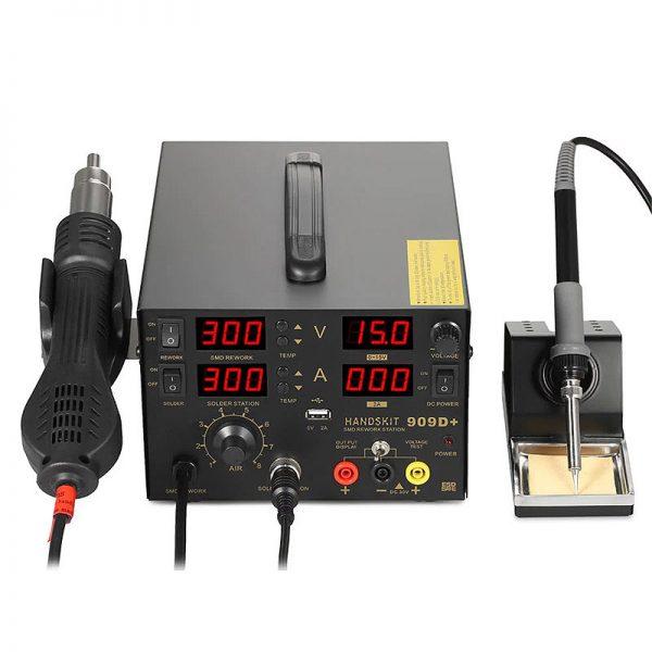 Паяльна станція 4в1 HandsKit 909D+ (паяльник+фен+тестер+джерело живлення+USB) 4 дисплея