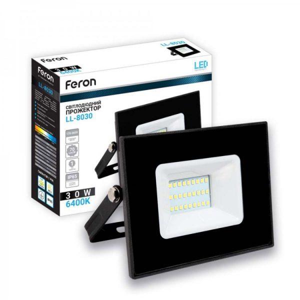 Прожектор LED 30W 2100Lm 6400K 230V IP65 чорний LL-8030