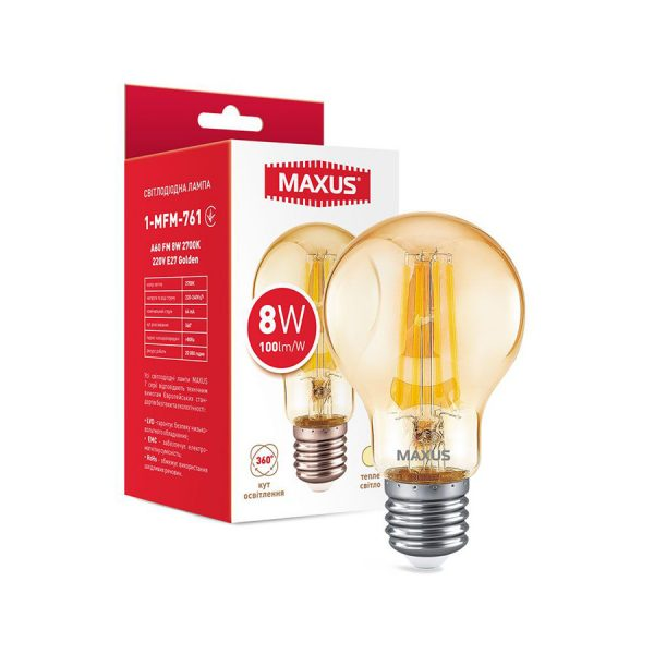 Лампа 1-MFM-761 A60 FM 8W 2700K 220V E27 Golden