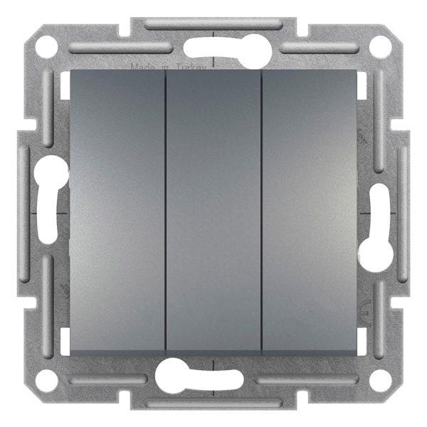 Вимикач ASFORA 3-кл. сталь