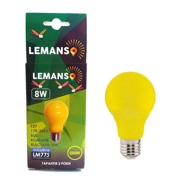 Лампа LED від комарів 4м 8W A60 E27 2200K 170-265V LM775