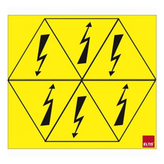 """Знак""""блискавка"""" в трикутнику 80х80х80  6шт. на листі (жовта)"""