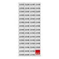 """Знак""""220 В"""" в прямокутнику 15х10мм 58шт. на листі 70х160мм( прозора)"""
