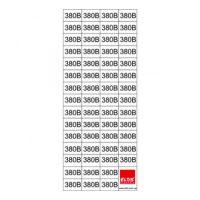 """Знак""""380 В"""" в прямокутнику 15х10мм 58шт. на листі 70х160мм( прозора)"""