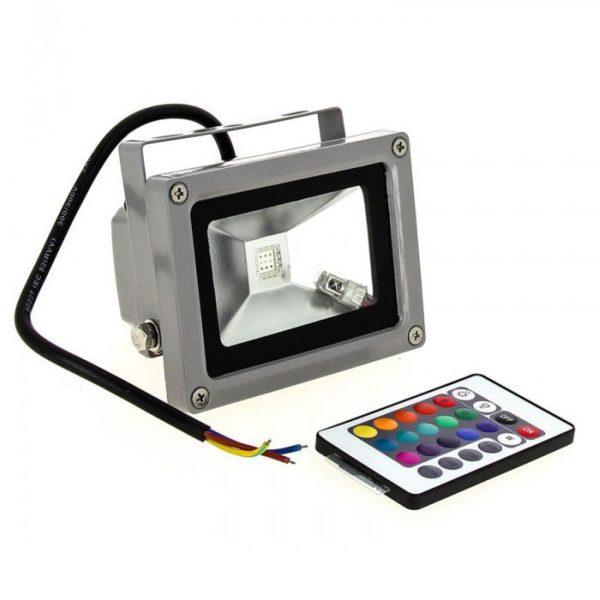 Прожектор LED 10w RGB+пульт IP65 1LED LEMANSO/LMP9-11-RGB сірий