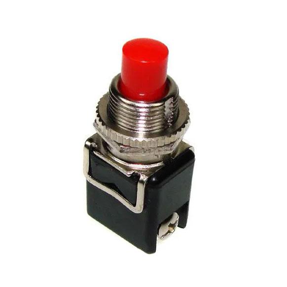 Кнопка без фіксації 4А, червона, кругл.PBS-13B OFF-(ON), 2pin, 4А 250V