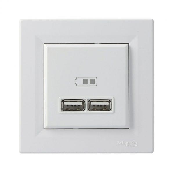 Розетка USB 2 1A ASFORA біла