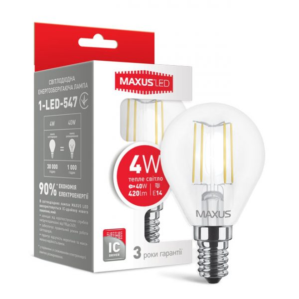Лампа 1-LED-547 G45 FM 4W 3000K 220V E14 LEDнитка