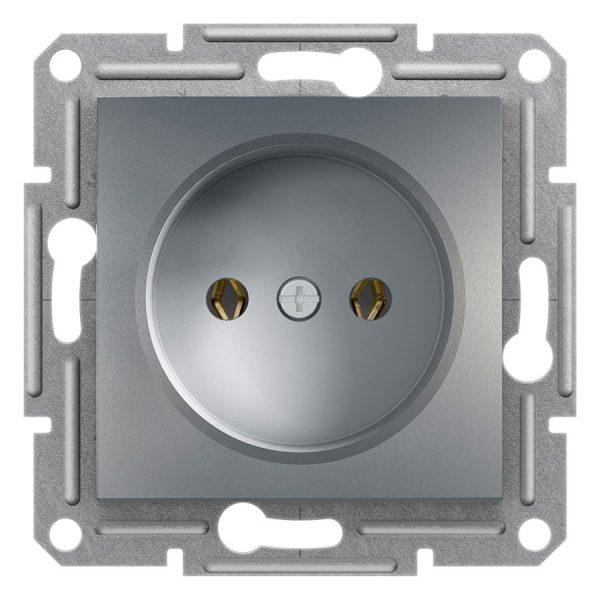 Розетка ASFORA 1-а без з/з сталь