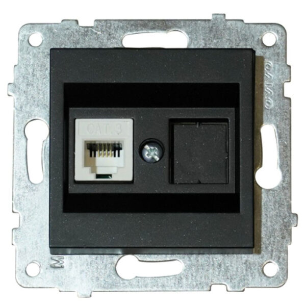 Механізм розетки комп'ютерної (САТ6) Grano чорн.металік
