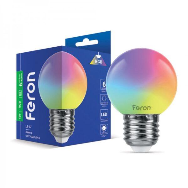 Лампа LED LB-37 G45 230V 1W E27 RGB ТМ Ферон