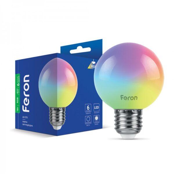 Лампа LED LB-378 G60 230V 1W E27 RGB ТМ Ферон